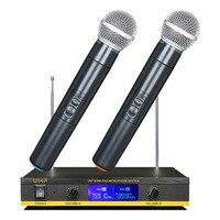 2 sztuk profesjonalny bezprzewodowy mikrofon ręczny mikrofon pojemnościowy z odbiornik mikrofon bezprzewodowy mikrofon Kareoke KTV śpiew ue Pl w Mikrofony od Elektronika użytkowa na