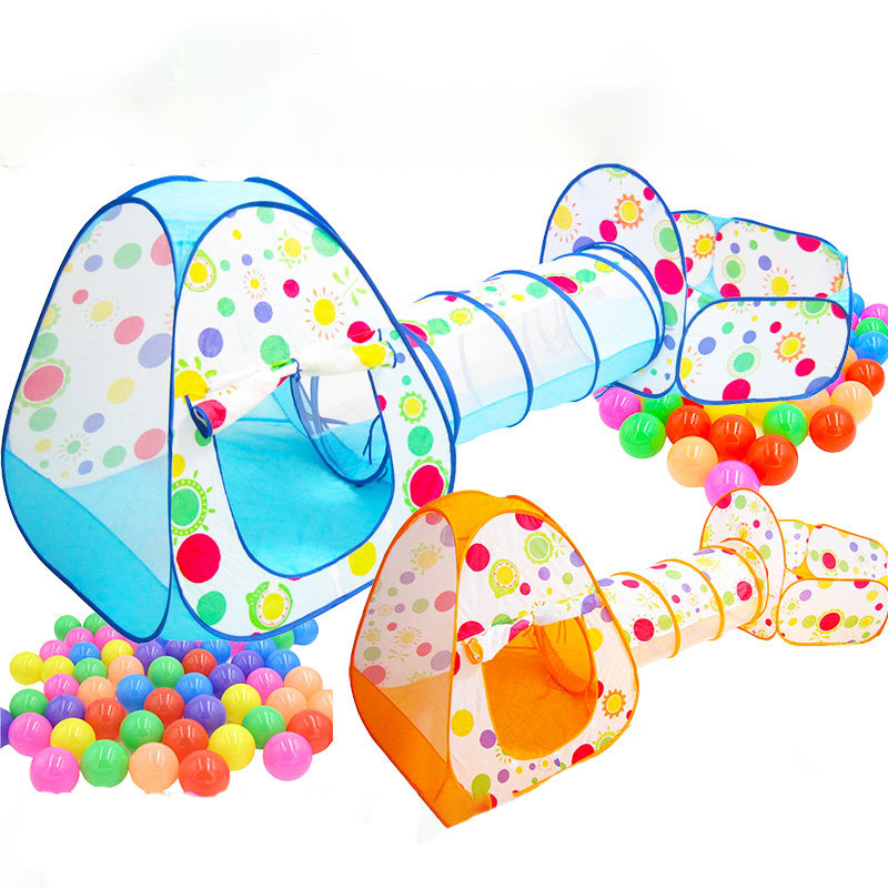 Three-in-one Children's Tent Set Of Three 3-throw Basketball Pool Crawling Tunnel Tent House Game Room 0-3 Years Old Baby Toys