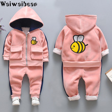 2pcs/Set Baby Winter Clothes Set Boy Girl Velvet Thickening Fleece Hooded Sweater/Coat + Pants Super Warm Childrens Suit