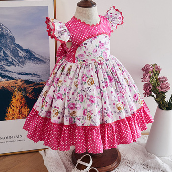 Kids Dresses for Girls Spanish Children Boutique Clothing Toddler Floral Frocks Baby Ruffle Sleeve Vintage Christening Gown