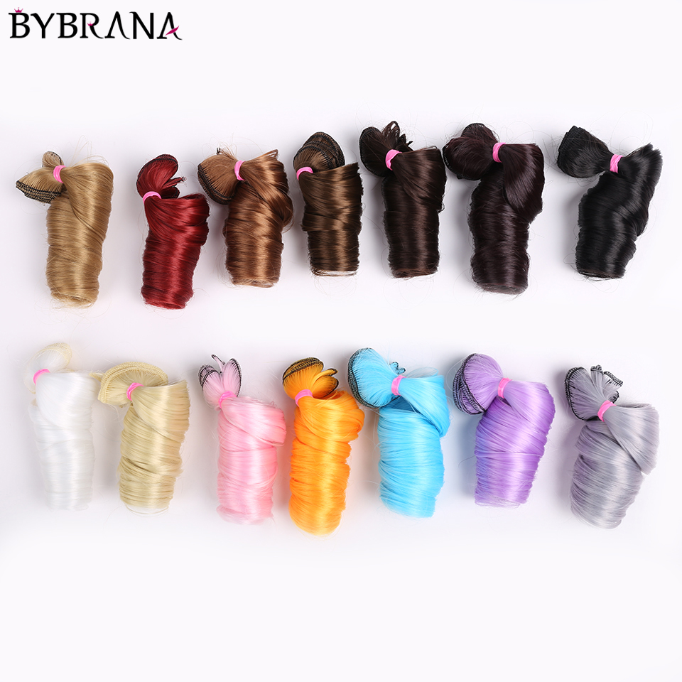 Bybrana Curly Black Brown Silver Multicolor Color 15*100cm 30*100cm Hair SD BJD Wigs For Dolls DIY Free Shipping