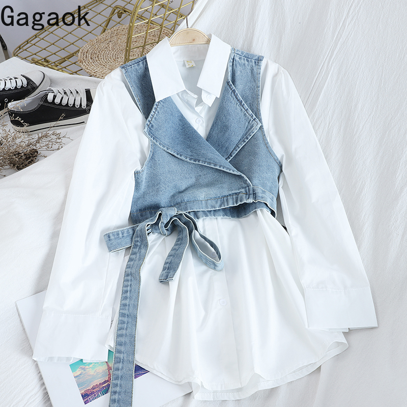 Gagaok Streetwear 2 Piece Set Women Spring Autumn Vest +blouse Solid Lapel Slim Wild Casual Female Fashion Korean Sets Tops