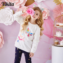 VIKITA Kids Cotton T Shirt Children Autumn Long Sleeve T Shirts for Girls Clothes Butterfly Unicorn Sequins T Shirt Toddler Tops