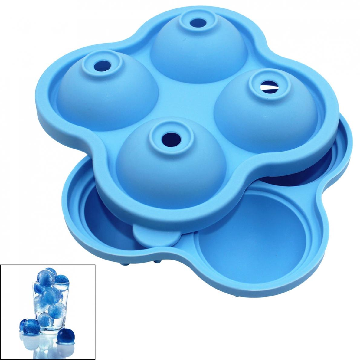 2pcs/lot Silicone Ice Cube Tray Whiskey Cocktail Ice Ball Maker With 4 Grids For Ice Cream Tool