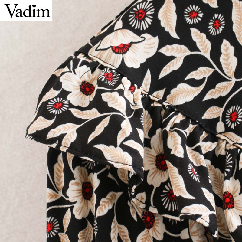 Image 5 - Vadim women chic floral pattern mini dress ruffles long bell sleeve straight female causal fashion dresses vestidos QD081Dresses   -