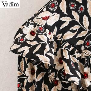 Image 5 - Vadim женское шикарное мини платье с цветочным узором, оборками, длинным рукавом колокольчиком, прямые женские повседневные модные платья, vestidos QD081