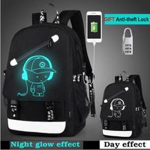 Мультяшный рюкзак для мальчиков, школьный рюкзак, студенческий светящийся анимационный USB зарядка, школьные сумки для подростков, школьный рюкзак, рюкзак