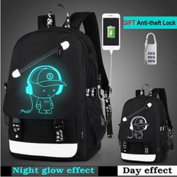 Мультяшный рюкзак для мальчиков, школьный рюкзак, студенческий светящийся анимационный USB зарядка, школьные сумки для подростков, школьный ...