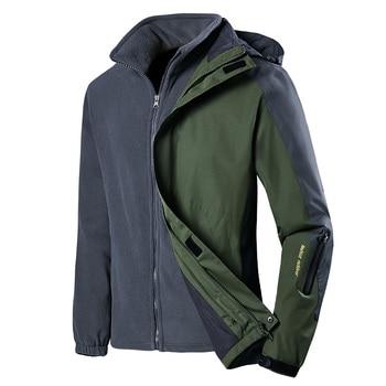 Winter Jacket Men Waterproof Thick Fleece Warm Parka Coat Casual Hooded Two Jackets In One 2PCS Windbreaker Men Dropshipping