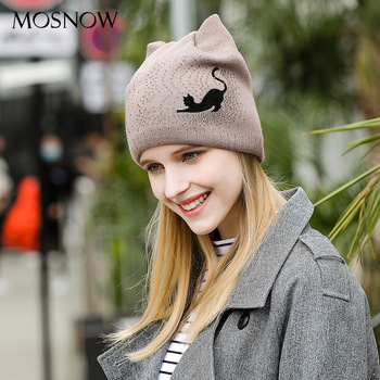 Lady Lovely Knitted Hat Girls Cat Ear Bow Tie Cap Female Black Knitting Hats Ladies Ear Protector Moon Hat Knitting Cap B-9360 image
