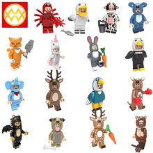 Otter Duplo Dragon mini blocks Pumping series kangaroo Sika deer Elephant Unicorn Spider Milk Cow Rabbit stitch brick kids toys(China)