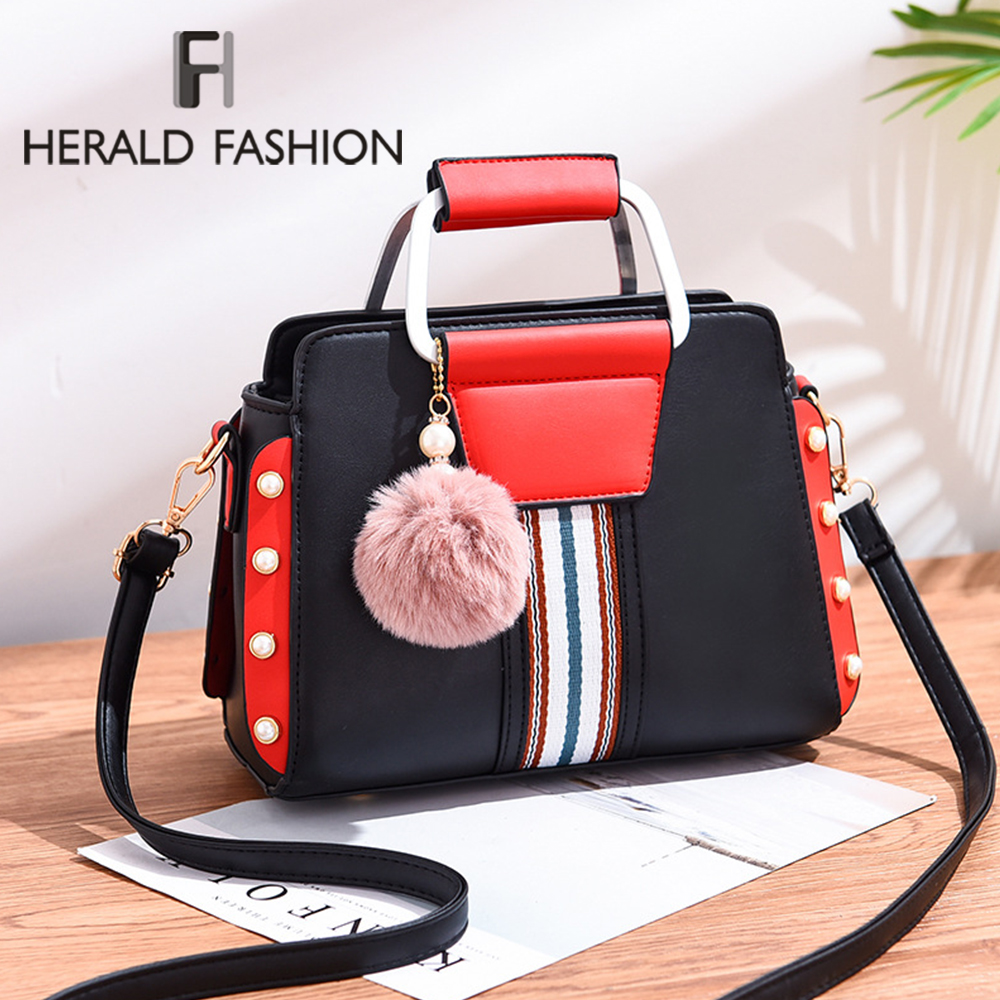 New Shoulder Bag With Hairball Women Bag Luxury Handbags Casual Tote Female Bags Designer High-grade Scrub Leather Messenger Bag