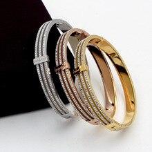 Tyendy Rose Gold Bracelets for Women Bangle CZ Stainless Steel Jewelry Lady Cubic Zirconia