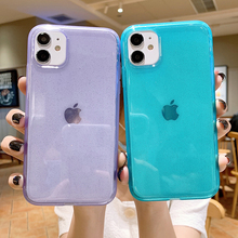 Glitter Transparent Bumper Shockproof Phone Case for iPhone SE 2020 11Pro Max XR XS Max 6 6s 7 8 Plus X Soft Silicone Back Cover glitter powder holder phone case for iphone 11 x xr xs max 6 6s 7 8 plus transparent soft tpu wrist strap shockproof back cover