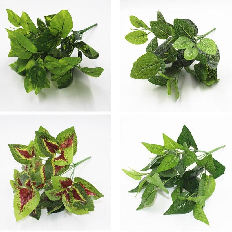 7 Forks/Bouquet Artificial Plants Leaf Simulation Plants Balcony Garden Landscape Home Decoration Accessories Fake Flowers