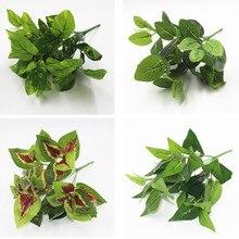 7 galhos/buquê plantas artificiais simulação, folhas, varanda, jardim, paisagem, casa, acessórios de decoração, flores falsas