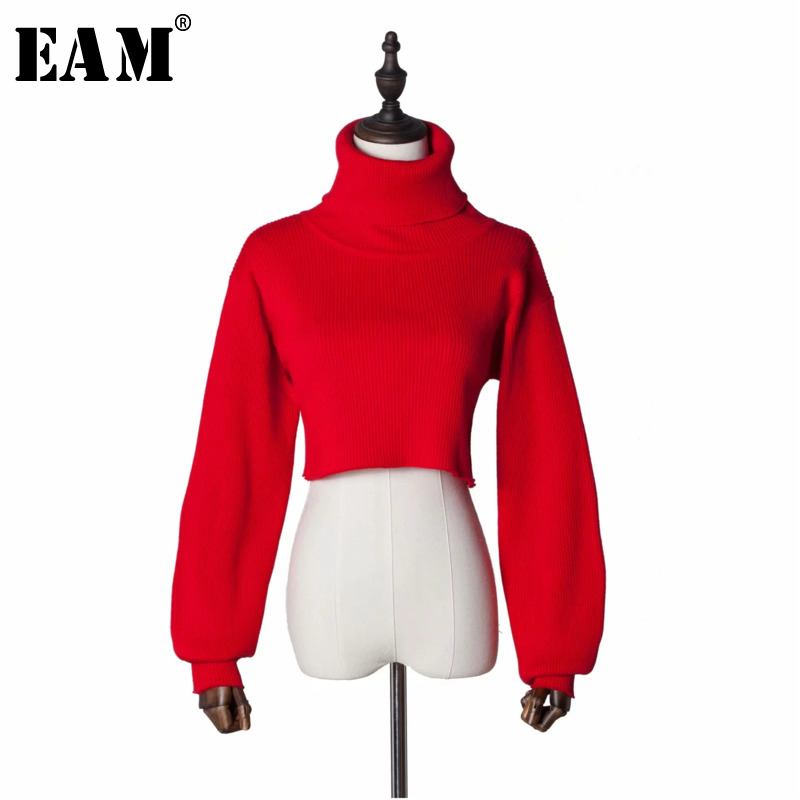 [EAM] Red Side Vent Long Big Size Knitting Sweater Loose Fit High Collar Long Sleeve Women New Fashion Autumn Winter 2019 YF3120