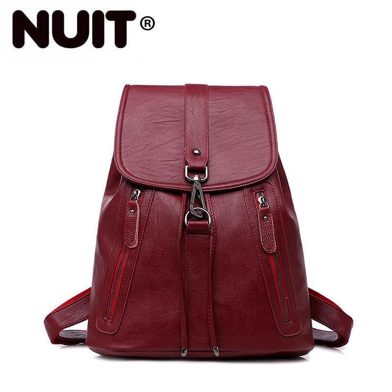 Women Leather Backpacks Travel Rucksack Sac A Dos Femme Vintage Backpack For Girls Mochilas Large Capacity Back Pack School