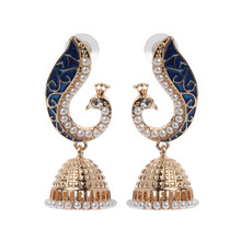 2020 neue Retro Indischen Bollywood Kundan Pfau Jhumka Jhumki Drop Ohrringe Gypsy Schmuck(China)