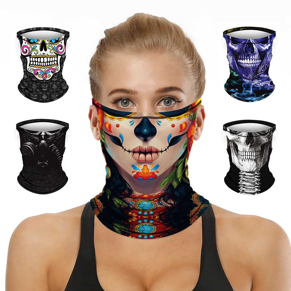3D Print Skull Headband Multifunctional Mask Neck Cover Bandana Half Face Breathable Scarf Summer Sports Neckerchief Face Shield