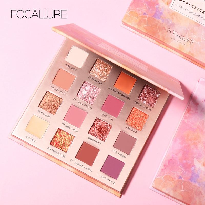 FOCALLURE Eyeshadow Pallete Glitter Sunrise 16-Colors Pigmented Matte Easy-To-Wear
