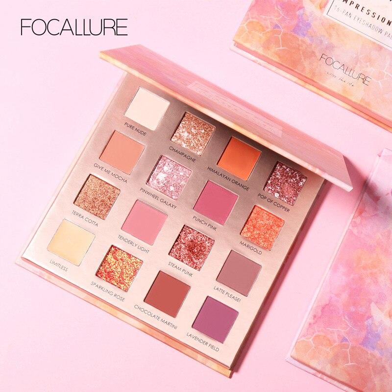 FOCALLURE 16 farben Sonnenaufgang Glitter Lidschatten palette einfach zu tragen Matte pigmentierte lidschatten pulver Lidschatten pallete