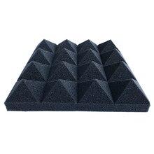 12 pces espuma acústica 2 polegada x 10 polegada x 10 polegada estúdio à prova de som pirâmide absorção de som painel telha proteção esponja