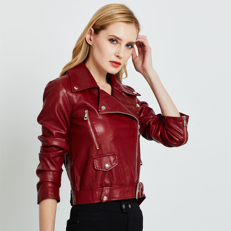 2019 Women Pu   Leather   Jacket Fashion Autumn Winter Short Faux   Leather   Washed Coat Streetwear Zipper Belt Motorcycle Basic Jacket