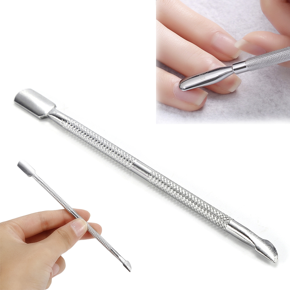 Fashion Design Double Head Stainless Steel Cuticle Nail Pusher Manicure Tool Dead Skin Push For Nail Women Men Hot TSLM1