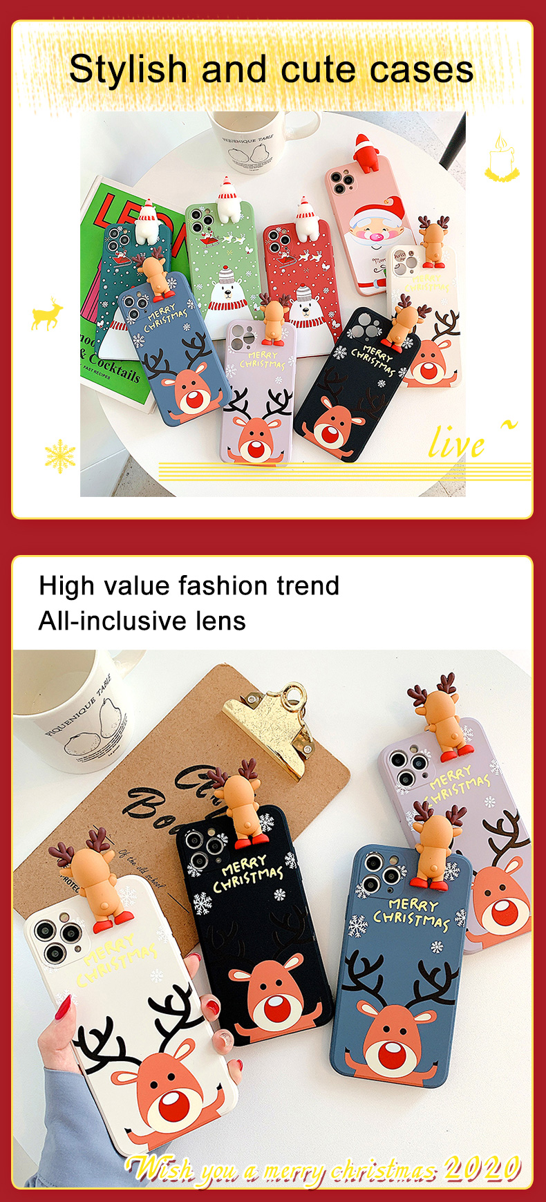 Christmas Gift Cartoon Deer & Snowman Soft Silicone Cover Phone Case For iPhone 11 Pro MAx