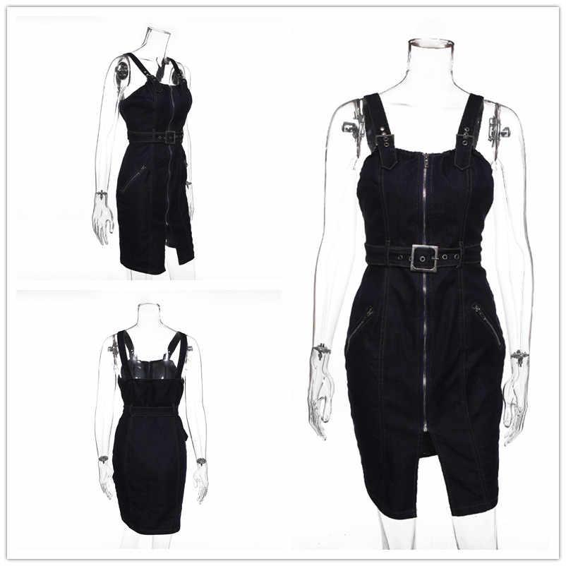 сарафан женский летний джинсовое платье мода 2019 большие размеры женская одежда летние платья и сарафаны облегающее бандажное платье на бретелях повседневное платье с поясом D7029