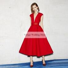 Verngo Red Short Evening Dress 2020 Party Gown Simple Elegant Formal Dresses Vintage Custom Made Abendkleider