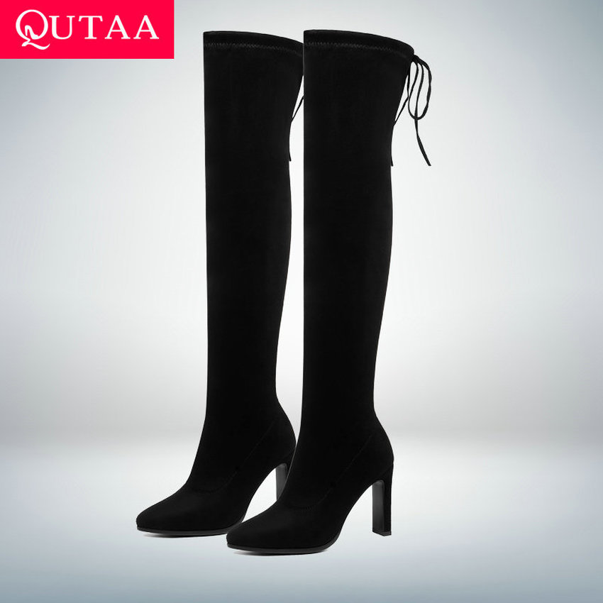 QUTAA 2020 Lace Up Stretch Flock Long Boots Fashion Square High Heel Over The Knee Boots Winter Warm Fur Women Shoes Size 34-43