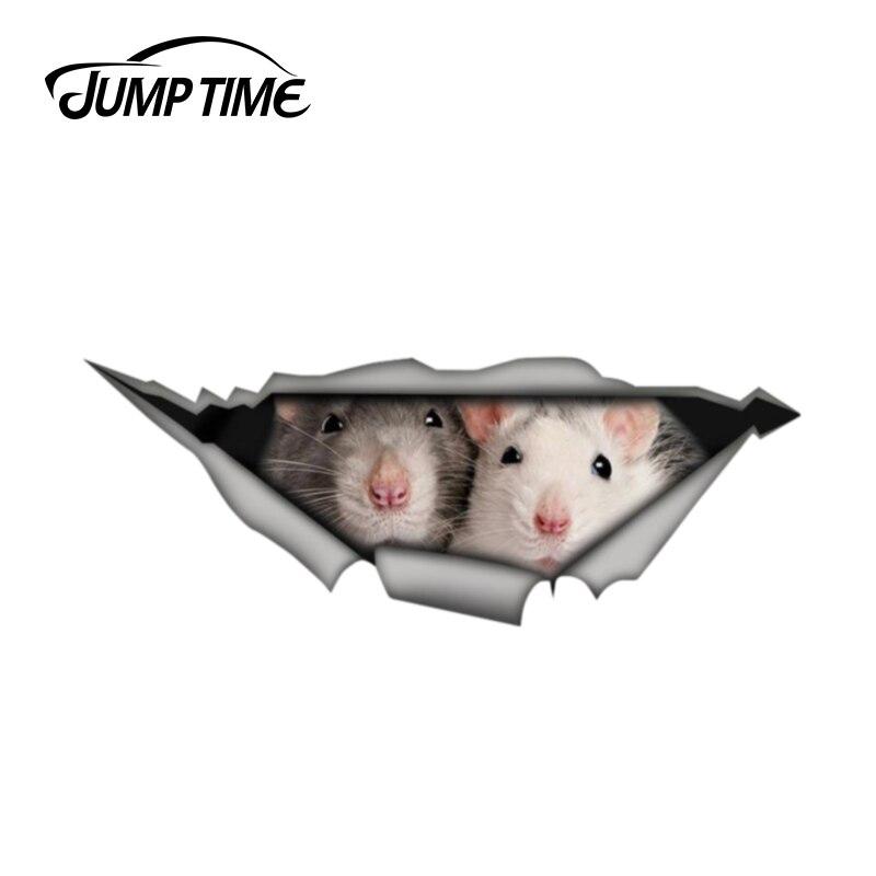 Czas skoku 13cm x 4.8cm szczury naklejki samochodowe 3D Pet graficzna winylowa tablica naścienna okno samochodu Laptop zderzak samochodowy naklejki