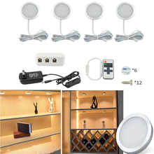 2W LED Cabinet Light with 12V Power Adapter Wireless Remote Control Under Kitchen Cabinet Lamp Decor Home Wardrobe Showcase