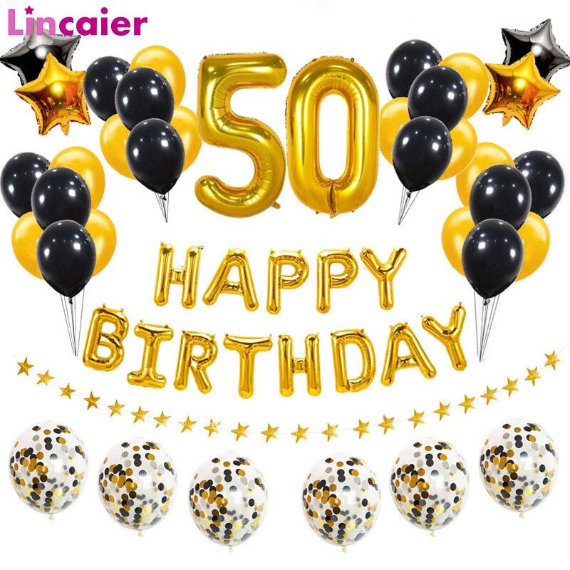 38 шт 32 дюйма счастливый 50 день рождения фольги шары черный золотой латексный шар номер 50-летнего возраста вечерние украшения для мужчин и же...