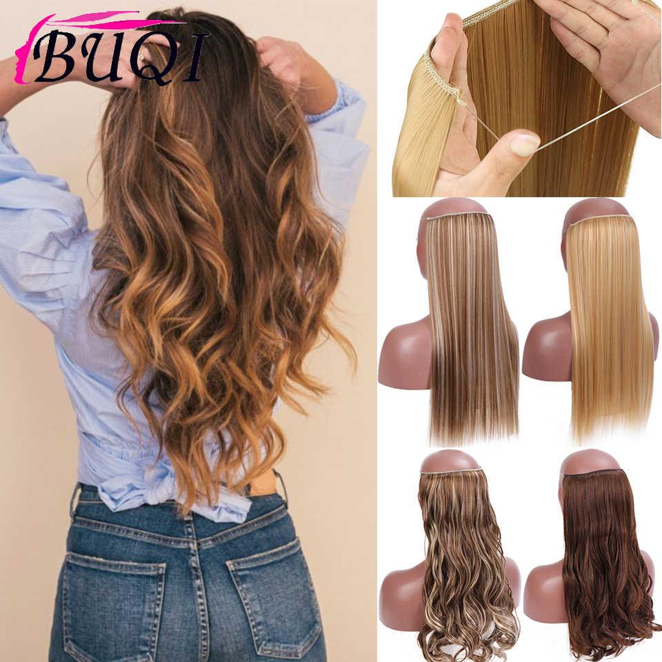 Buqi Pruik 24 Inch Vrouwen Vis Lijn Hair Extensions Zwart Bruin Blond Natuurlijke Golvend Lange Hoge Tempreture Fiber Synthetische Hairp