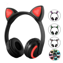 Bluetooth Headphones Led 7 Colors Light  Stereo Cat Ear Wireless Headphones Flashing Glowing Cat Ear Gaming Headset Earphone все цены