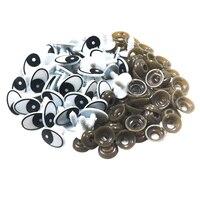60 piezas de Ojos de seguridad de plástico blanco y negro ojo artesanal con arandelas para muñecas, marionetas, fabricación de animales de peluche