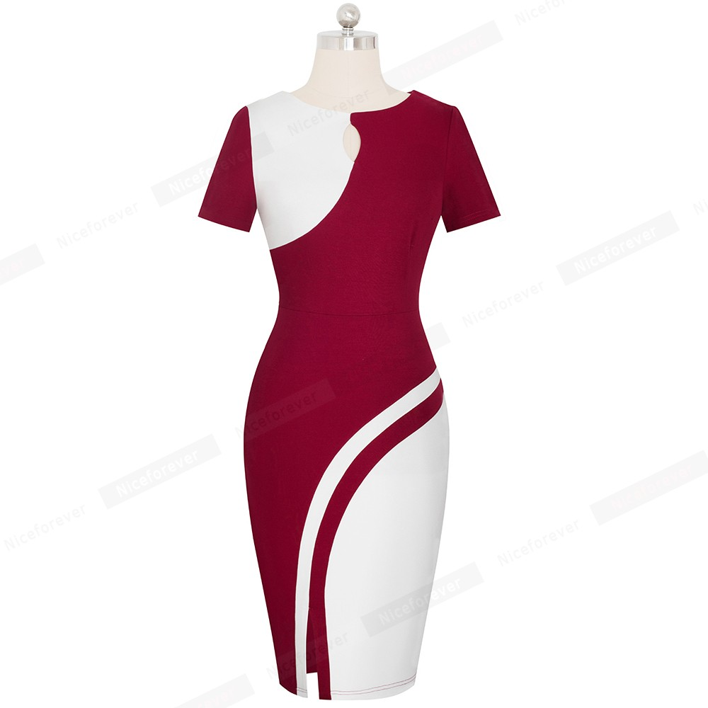 Image 4 - Nice forever New Spring Elegant Stylish Contrast Color Patchwork Office Work vestidos Business Bodycon Women Dress B571Dresses   -