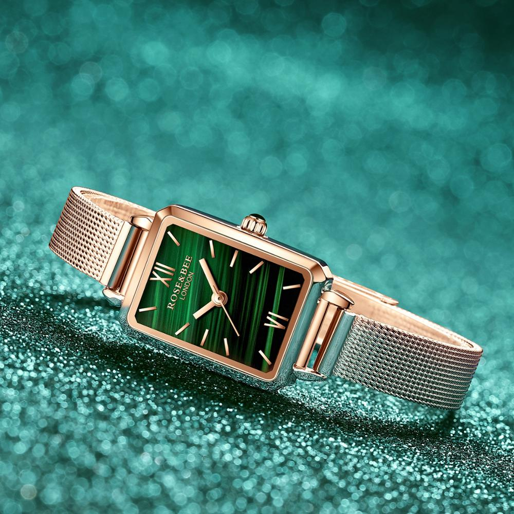 Green Malachite Rose Gold women Watches
