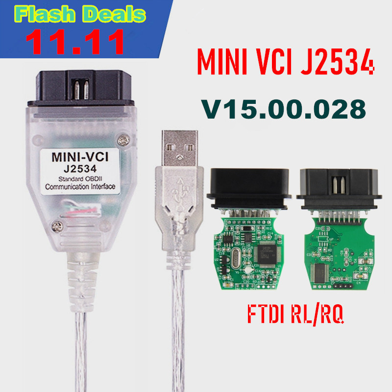 MINI VCI V15 00 028 FTDI FT232RL FT232RQ MINI-VCI J2534 For Toyota TIS Techstream OBD2 Interface Vehicle Diagnosis