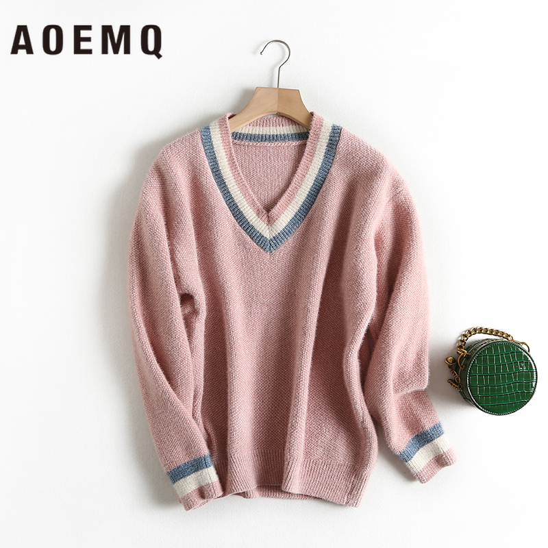 AOEMQ Casual Sweaters Thick 4 Colors Candy Solid V-Neck Warm Soft Pullovers Winter Sweater Loose Women Tops Sweater Clothing