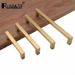 RUNBAZEF новые золотые латунные ручки для кухонного шкафа, современный комод, Тянет дверные ручки и ручки, квадратная мебельная фурнитура