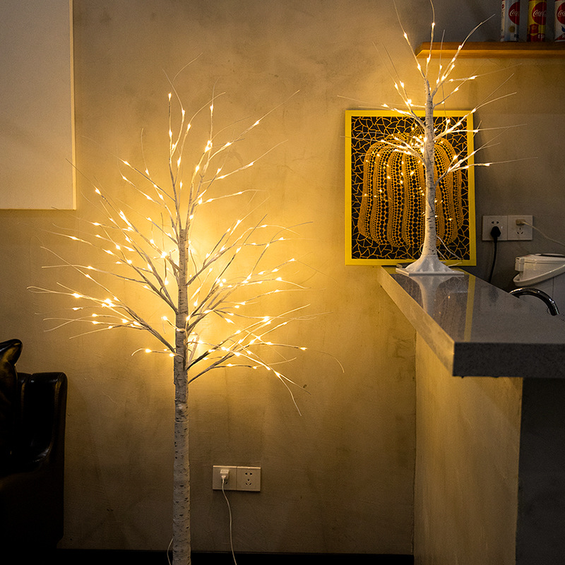 Silver Birch Lamp LED Christmas Imitative Tree New Year Colorful Lights Living Room Home Decorative Lamp Spring Festival Day Lan