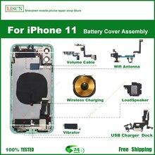 Per IPhone 11 coperchio posteriore batteria, telaio centrale telaio, vassoio scheda SIM, componenti chiave laterale, guscio cavo morbido installazione + regali