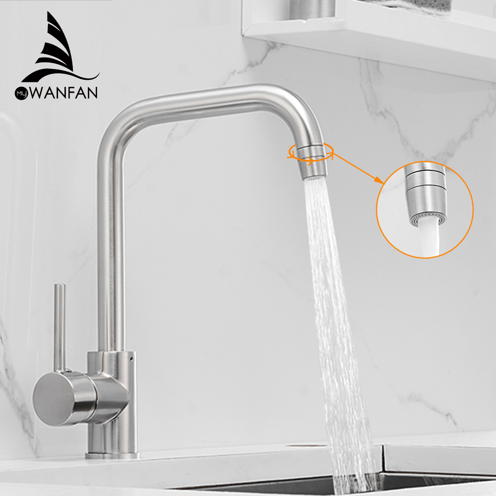 Kitchen Faucets Brass Kitchen Sink Water Faucet 360 Rotate Swivel Faucet Mixer Single Holder Single Hole Black Mixer Tap 866037