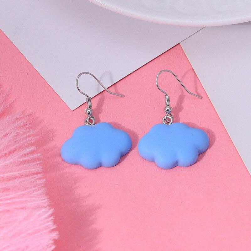 Милые красочные серьги YPAY с облаками 2021, модные женские Украшения, длинные висячие серьги для девочек, Высококачественное натуральное укра...