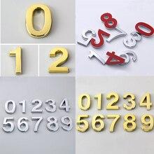 3 размера от 0 до 9 табличка с цифрами Современная Серебряная Золотая табличка с цифрами дом отель Адрес двери стикер с цифрами числовые таблички знаки 0-9