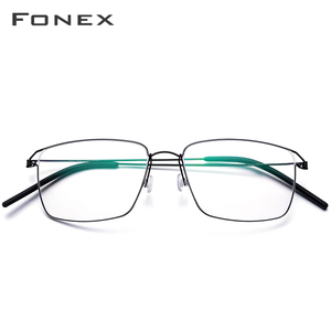 Image 2 - FONEX Titanium Alloy Optical Prescription Glasses New Women Myopia Eyeglasses Frame Men Ultralight Screwless Eyewear 98624